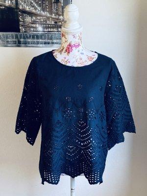 Bluse aus 100% Baumwolle dunkelblau mit Stickereien-Nümph-