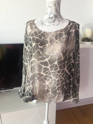 Bluse aus 100% Seide Animalprint Gr. M grau beige
