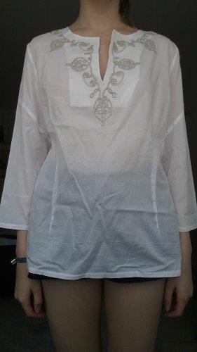 Hirsch Blusa trasparente bianco-argento Cotone