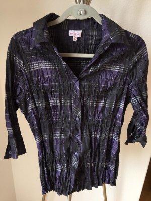 Biaggini Blouse à manches longues violet foncé-noir tissu mixte