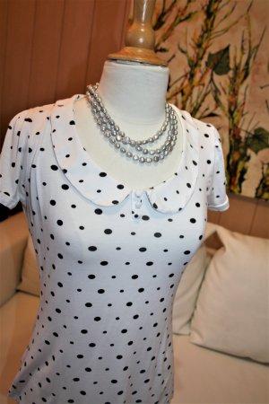 3 Suisses T-shirt blanc-noir tissu mixte
