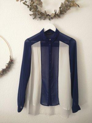 Bershka Blouse met lange mouwen wit-donkerblauw