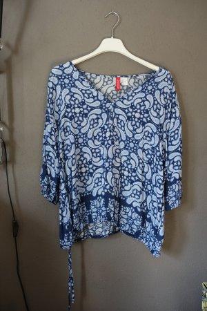 Bluse, blau, gemustert, raffbar, H&M, Paisley, Paisleymuster