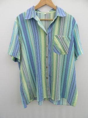 Bluse blau gestreift Vintage Retro Gr. XL oversize