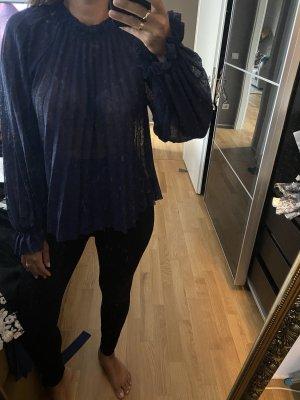 Zara Blouse à col montant bleu foncé