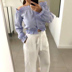 Blusa tipo Carmen azul celeste-blanco
