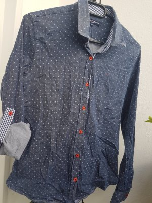 Bluse blau, weiß gepunktet