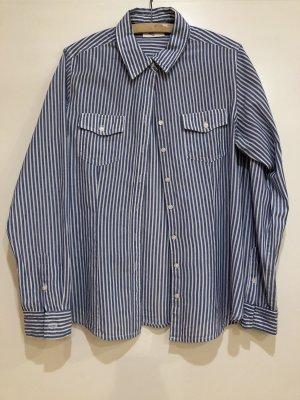 Bluse blau weiß gestreift, Gr. 42, Gina