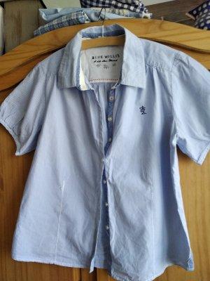 Blue Willi's Blusa de cuello alto blanco-azul celeste