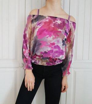 Bluse blumen flower schulterfrei off shoulder hemd top S cardigan