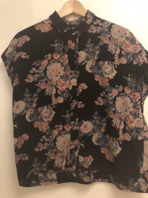 Bluse Blumen schwarz 38