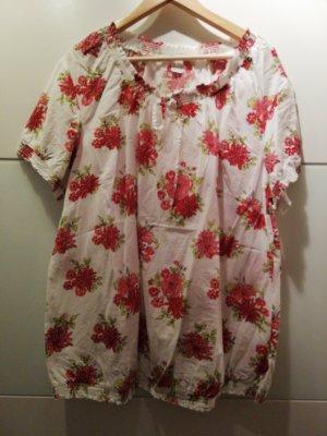 Camisa tipo túnica blanco-rojo claro