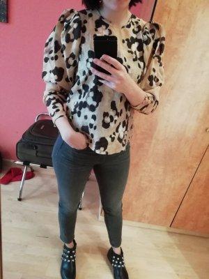 Bluse Blusenshirt Puffärmel Leo Animal Cheetah