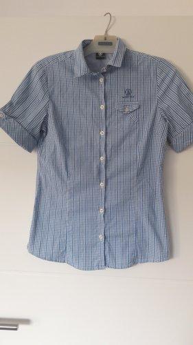 Bogner Jeans Geruite blouse wit-korenblauw