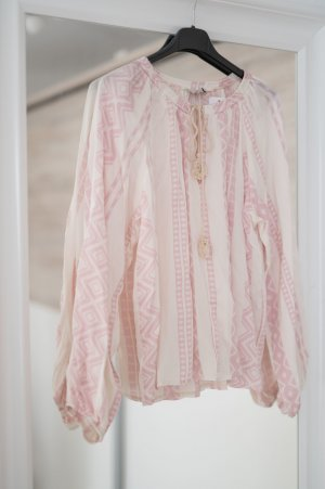 Blusa alla Carmen bianco sporco-rosa pallido