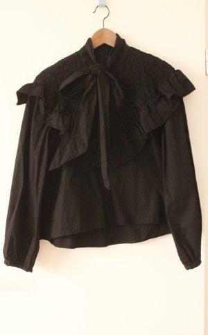 Zara Woman Tie-neck Blouse black cotton