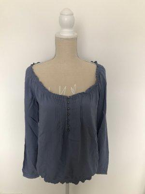 Bluse, Carmen-Bluse, blau, Rundhalsausschnitt, Pimkie, Gr. 34
