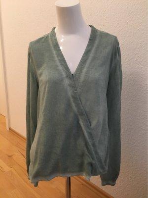 Comma Wikkelblouse grijs-groen