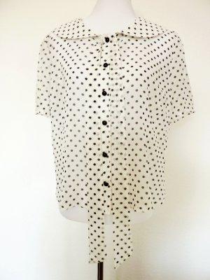 Bluse creme schwarze Punkte gepunktete Chiffonbluse Bubikragen Punkte Bluse Collectif Rockabilly Shirt Bluse gepunktet creme weiss 42