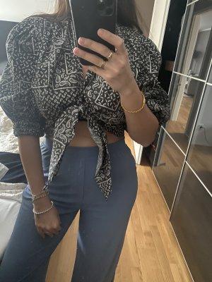 Bluse cropped top schwarz weiß L 40