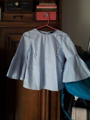 Zara Inserción de blusa blanco-azul celeste