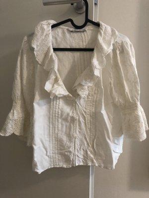 Zara Premium Bluzka z falbankami w kolorze białej wełny
