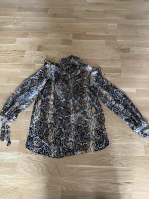 Zara Glanzende blouse grijs-bruin-zwart