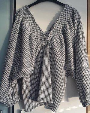 Zara Trafaluc Geruite blouse wit-zwart