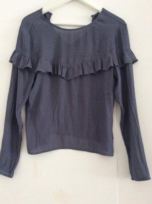 H&M Divided Ruffled Blouse slate-gray