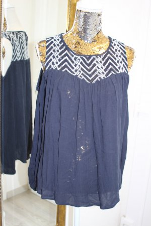 Dorothy Perkins Long Sleeve Blouse dark blue-white cotton