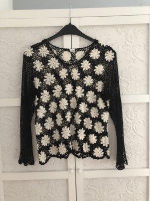 Bluse durchsichtig M Hemd Top Netz Stickerei Blume