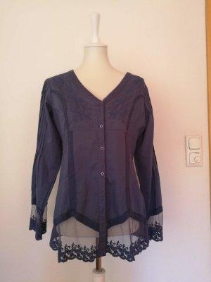 B&C collection Koronkowa bluzka chabrowy