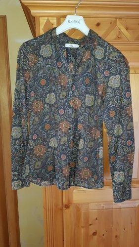 0039 Italy Koszulowa bluzka szary-pomarańczowy