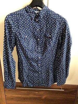 AJC Bluzka z długim rękawem ciemnoniebieski-biały