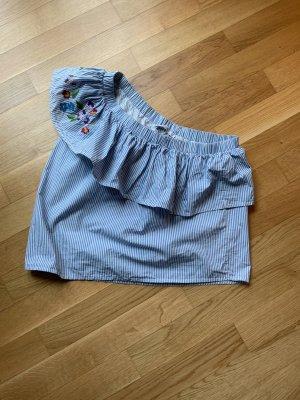 Pull & Bear Camisa de un solo hombro blanco-azul celeste