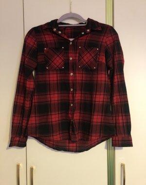 Bon Prix Geruite blouse zwart-rood