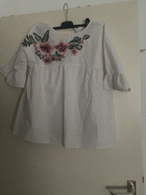 Ruche blouse wit