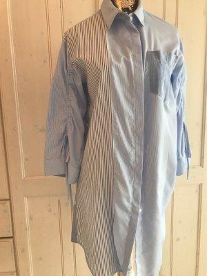 Blusa larga azul celeste-blanco Algodón