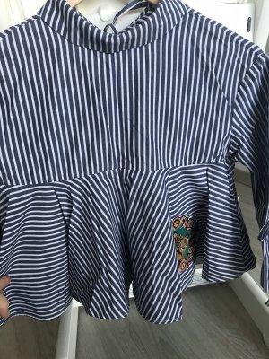 Zara Colletto camicia blu-bianco