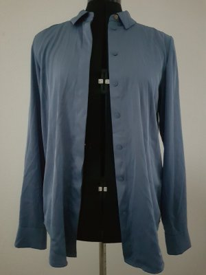 H&M Glanzende blouse azuur Gemengd weefsel