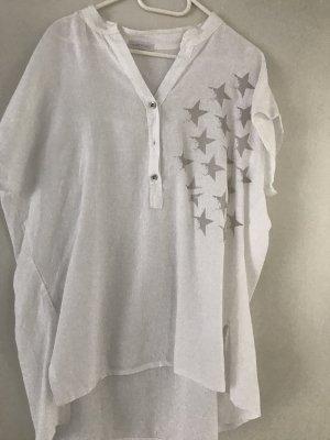Made in Italy Lniana bluzka biały-jasnoszary