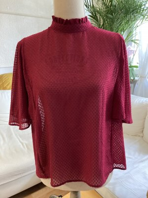 Mango Stand-Up Collar Blouse raspberry-red