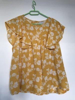 Bluse gelb mit Blumen, Compania Fantastica, XL, Fledermausärmel