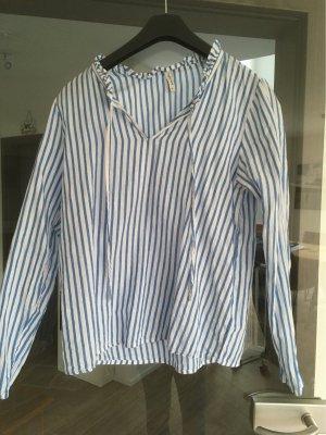 BlendShe Long Sleeve Blouse white-blue