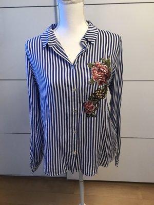 Bluse gestreift blau mit Pailletten