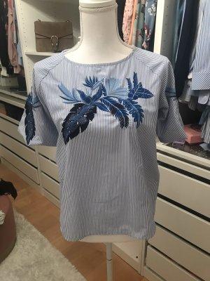 1.2.3 Paris Short Sleeved Blouse cornflower blue-white