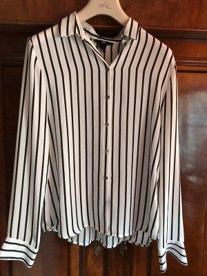 H&M Blusa de cuello alto blanco-negro