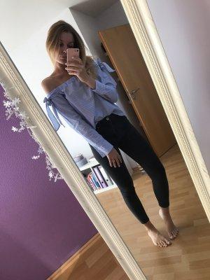 H&M Blusa alla Carmen bianco-blu
