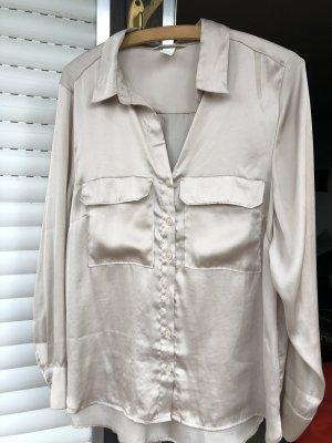 H&M Glanzende blouse room-nude