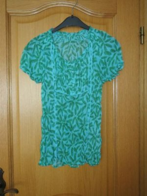 Bluse, Gr.36/38, grün-blau, Kurzarm
